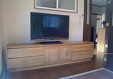 那須塩原市のお客様にお届けしたナラのテレビボード