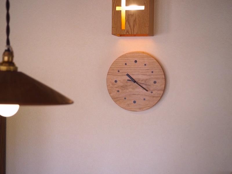 木の丸時計 チェリー